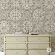 DIY wallpaper look using intricate allover tile stencils - Aragon Damask Tile Wall Stencils - Royal Design Studio