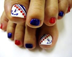 I have a collection of of July toe nail art designs & ideas of these Fourth of July nails are so charming that will give you plenty of nail art ideas to choose from, for the big celebration of of July. Pretty Toe Nails, Cute Toe Nails, Toe Nail Art, Fun Nails, Pretty Toes, Toenail Art Designs, Pedicure Designs, Manicure E Pedicure, Pedicure Ideas