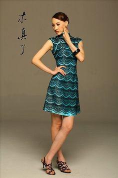 Gloomy. Elegant Blue Lace Cheongsam Dress | Chinese Unique Boutique