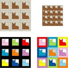 Patchwork Cat Quilt Block Pattern