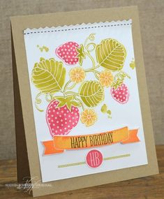 Berry Birthday Card by Nichole Heady for Papertrey Ink (March 2013)