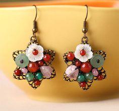 Custom-made Classical Semi-Gemstone Dangle Earrings by Atenacrafts on Etsy