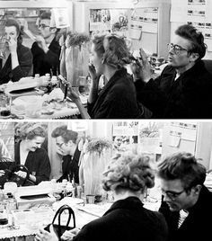 James Dean with Geraldine Page in her dressing room, 1955