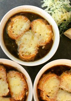 French Onion Soup To Die For With Unsalted Butter, Yellow Onion, Water, Dry Sherry, Low Sodium Chicken Broth, Beef Broth, Fresh Thyme, Bay Leaf, Sea Salt, Ground Black Pepper, Baguette, Gruyere Cheese