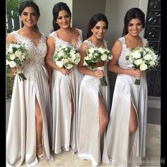 Champagne Lace Beach Cheap Bridesmaid Dresses Side Split Lace Wedding Party Dresses Long Evening Dressmaid Appliques Long Bridesmaid Gowns New Bridesmaid Dresses Cheap Bridesmaid Dresses Long Maid of Honor Dress Online with $109.0/Piece on Magicdress2011's Store | DHgate.com