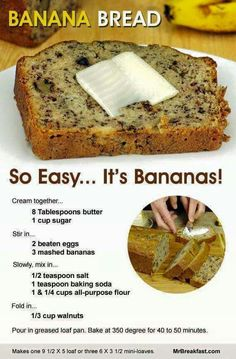 my fav banana bread recipe but used with chocolate chips and a dash of vanilla!!