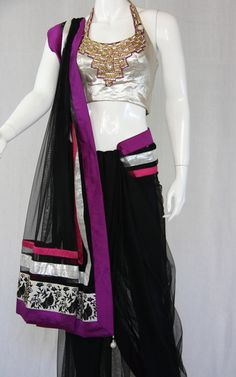Halter crystalized blouse with black saree