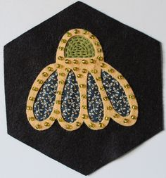 Fellowship of the Flowers week 47, wool applique by Michelle May of theraspberryrabbits.com