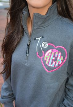 Items similar to Lilly Pulitzer Monogrammed Stethoscope Quarter Zip Pullover Sweatshirt on Etsy Nursing Goals, Nursing Career, School Interview, Oncology Nursing, Nursing Accessories, Nursing Students, Nursing Schools, Nursing Student Gifts, Cute Nurse