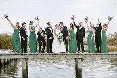 Bonnet Island Estate New Jersey Wedding // Fall Wedding // Photos by Off BEET Productions // #weddinginspiration #classicwedding #classic #fall #beach #shore #bridesmaids #hunter #green #huntergreen #kellygreen #navy #white #rustic #groomsmen #tux #tuxedo #suspenders #bowtie #bridalparty