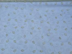 Cream embroidery net curtains fabric pacific by TheFabricShopUK
