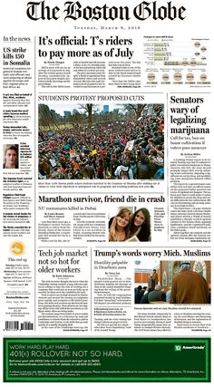 #20160308 #USA #MASSACHUSETTS #BOSTON Tuesday MAR 08 2016 #TheBostonGlobe http://www.newseum.org/todaysfrontpages/?tfp_show=80&tfp_page=3&tfp_id=MA_BG