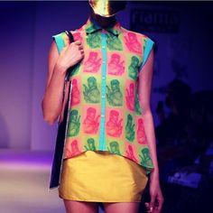Amitabh Bachan in Warhol-esque color block button down blouse