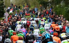 The pack of cyclists rides during the first passage in the famous Huy wall at the 76th edition of the Walloon Arrow (Fleche Wallonne - Waalse Pijl) one day cycling race, 194km from Charleroi to Huy, on April 18, 2012. (Photo by Belga Photo Michel Krakowski /AFP/Getty Images)