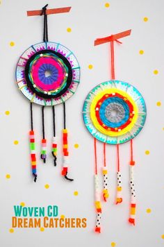 Woven CD Dream Catcher- Great Kids art and craft projects