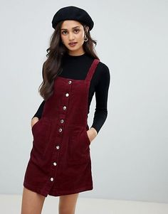 Image 1 of Miss Selfridge cord pinny dress in burgundy Jumper Dresses: 15 Outfit Ideas and Options to Shop Now Winter Fashion Outfits, Look Fashion, Korean Fashion, Fall Outfits, Pinafore Dress Outfit, Pinny Dress, Cord Pinafore Dress, Corduroy Pinafore Dress, Jumper Dress