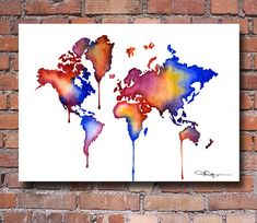 World Map  Watercolor Map  Wall Decor by 1GalleryAbove on Etsy, $12.50