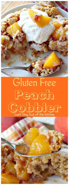 Gluten Free Living 2016 Gluten Free Peach Cobbler is another addition to my many many many recipes for some version of Peach Cobbler! I based this recipe off my favorite version of Peach Cobbler Gluten Free Deserts, Gluten Free Pie, Gluten Free Sweets, Gluten Free Breakfasts, Foods With Gluten, Gluten Free Baking, Gluten Free Recipes, Dairy Free, Gluten Free Potluck