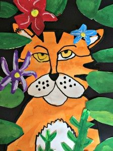 After learning about the life and art of Henri Rousseau, 2nd graders at Georgetown created these ferocious tigers in the style of Rousseau.