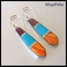 Southwestern Sterling Silver Earrings with Stone Inlay