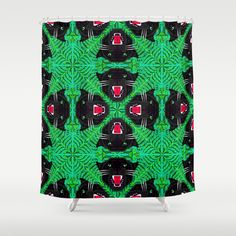 Tropical Gothic Pattern  Shower Curtain by chobopop - $68.00 Gothic Pattern, Tropical, Curtains, Shower, Prints, Rain Shower Heads, Blinds, Showers, Draping