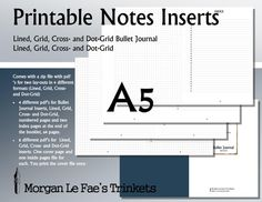 A5 Notes and Bullet Journal inserts,  Lined, Grid, Cross- and Dot-Grid