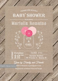 Burlap Rustic Girl Baby Shower Invitation-Mason Jar, Pink, Flowers, Printable