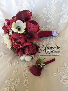 Burgundy real touch peony bouquet with Anemone, Silver or Gold brooches, Calla lilies and Tulips   #burgundybouquet #burgundyflowers #realtouchbouquet #peonybouquet #burgundybridalbouquet #realisticflowers #artificialflowers #broochbouquet #anemonebouquet #burgundysilkflowers https://www.etsy.com/listing/519635414/burgundy-bouquet-burgundy-peony-bouquet