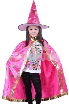 Boy Girl Kids Children Christmas Halloween Witch Wizard Cloak Gown Robe and Hat Cap Enchanter Stars 7 Fancy
