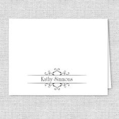 Fancy Scroll Personalized Note Cards  Set of 10  by AJsPrints, $12.50