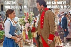 A new look at Emma Watson and Luke Evans as Belle and Gaston from the live- action Disney's Beauty and the Beast. BatB- Emma and Luke as Belle and Gaston Walt Disney, Disney Love, Disney Magic, Disney Stuff, Disney Family, Luke Evans, Emma Watson, Dan Stevens, Emma Thompson