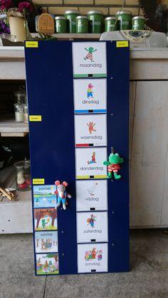 Dagen van de week, seizoenen en weer bord.  Kleuters. Kikker en zijn vriendjes. Lockers, Locker Storage, Kindergarten, Kids, Jay, Decor, Calendar, Young Children, Boys