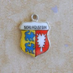 Vintage Silver Enamel Schleswig-Holstein Germany Travel Shield Bracelet Charm German Karo by Charmcrazey on Etsy