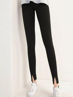 Shop Skinny Leg Pants - Black Casual Slit Solid Skinny Leg Pant online. Discover unique designers fashion at StyleWe.com.