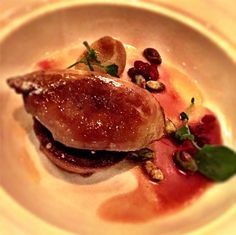 Foie Gras with Pistachio Torta, Duck Fat Seared Pear, and Vin Santo with Pomegranate Reduction