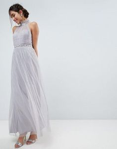 ASOS Embellished Waist High Neck Tulle Maxi Dress