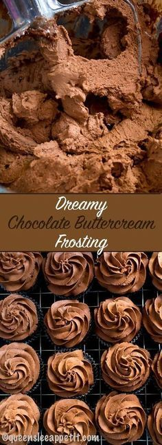 A light fluffy silky and dreamy Chocolate Buttercream Frosting Perfect for frosting cakes cupcakes and Chocolate Buttercream Frosting, Buttercream Recipe, Chocolate Butter Icing Recipe, Chocolate Icing For Cupcakes, Almond Frosting, Icing Cupcakes, Cupcake Frosting Recipes, Cake Chocolate, Chocolate Desserts