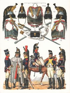 Line Cuirassiers, Trooper regimental distinctions, 1st (14), cloak (15), 7th Farrier (16), 4th (17), 8th (18), 12th (19),  1804-1809 (Plate 15b)