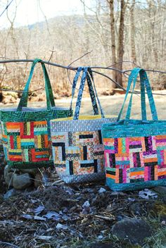 PDF Patchwork Tote Bag PATTERN, Charm and Scrap friendly, Rail Fence Tote Bag