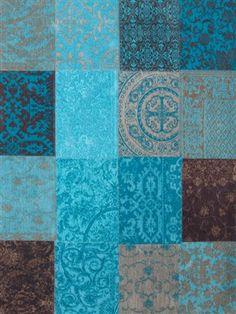 Vintage Kelim Tapijt Turquoise 8105 Bruin, Blauw, Grijs, Multicolor
