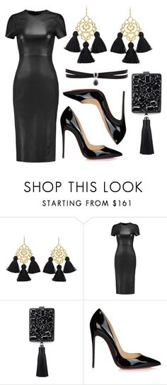 """Black leather"" by subvilli ❤ liked on Polyvore featuring Marte Frisnes, Iris & Ink, Tory Burch, Christian Louboutin, Fallon, black, Leather, dress and bag"
