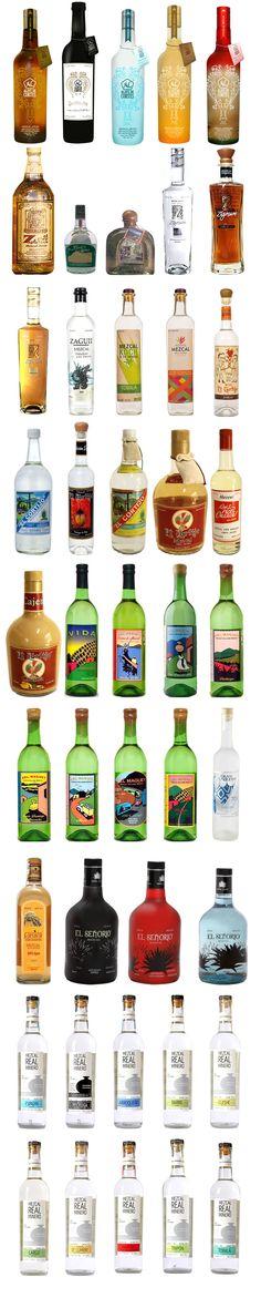 Botellas de Mezcales de Oaxaca Mexico.