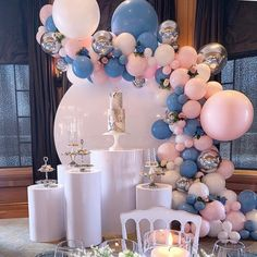Another gorgeous setup for a communion. Balloons Backdrop & Plinths Cake & Sweets Planning and styling Balloon Backdrop, Balloon Wall, Balloon Garland, Balloon Columns, Diy Birthday Decorations, Balloon Decorations, Baloon Decor, Birthday Party At Home, Birthday Cake
