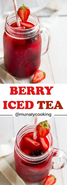 Berry Iced Tea Recipe. A delicious and refreshing Summer drink that is good for you and your kids. You can turn this berry iced tea into Popsicle for your kids to enjoy! #tea #berries #healthy