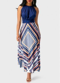 2019 New Arrival Sundresses Women's Holiday Going out Casual / Daily Sexy Maxi Slim Tunic Swing Sundress Elbise Vestidos Robe Femme - Floral Stripes Geometic Spring Navy Blue M L XL / Halter Neck Women's Fashion Dresses, Casual Dresses, Maxi Dresses, Cheap Dresses, Fashion Styles, Woman Dresses, Blue Dresses, Fashion Trends, Club Party Dresses