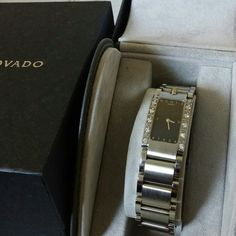 Movado Diamond Bezel Watch SACRIFICE for $650. This is one of Movado's Diamond museum collection watches.  It has 12 beautiful diamonds on bezel which retailed at $2695.  It is in MINT pre-loved condition and comes with the original box and card ready for gifting. It is a rare beauty!! You won't be disappointed.  Please feel free to ask any questions or make offers.  Thanks. Movado Accessories Watches