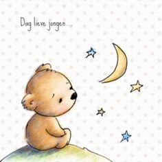 Babyrouwkaartje beer met sterren jongen
