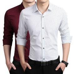 New Arrival Men's Tuxedo Shirt Male Classic Polka Dot Long-sleeve Business Casual Dress Shirt M~4XL 5XL Free shipping #253