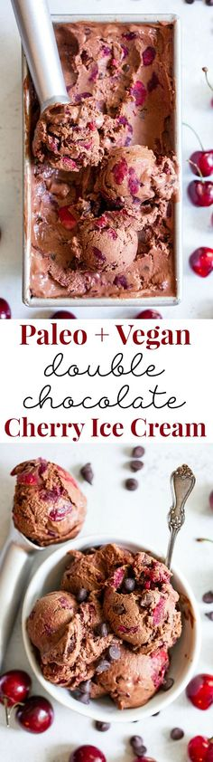 This Double Chocolate Chip Cherry Ice Cream is easy to make at home and you don't even need an ice cream maker! It has a rich and creamy texture and loads of chocolate and sweet fresh cherries mixed in. Refined sugar free, vegan, paleo and kid approved! Paleo Ice Cream, Dairy Free Ice Cream, Vanilla Bean Ice Cream, Ice Cream Recipes, Paleo Dessert, Paleo Sweets, Dessert Recipes, Dessert Blog, Chocolate Paleo