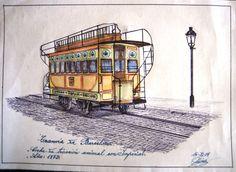 Barcelona 1872. Tranvía de tracción animal